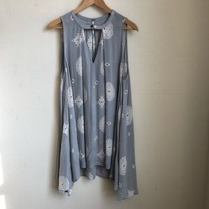 Free People Loft Blue Floral tunic tank top S
